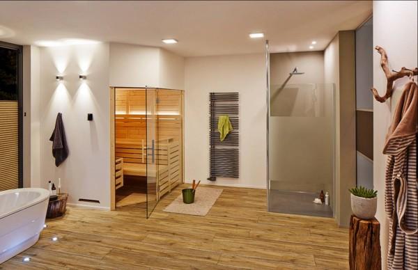Sauna Massivholz 5-Eck-Glas